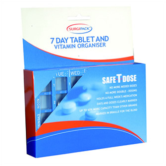 Surgipack<sup>®</sup> Safe-T-Dose 7 Day 4 Dose Tab Organiser